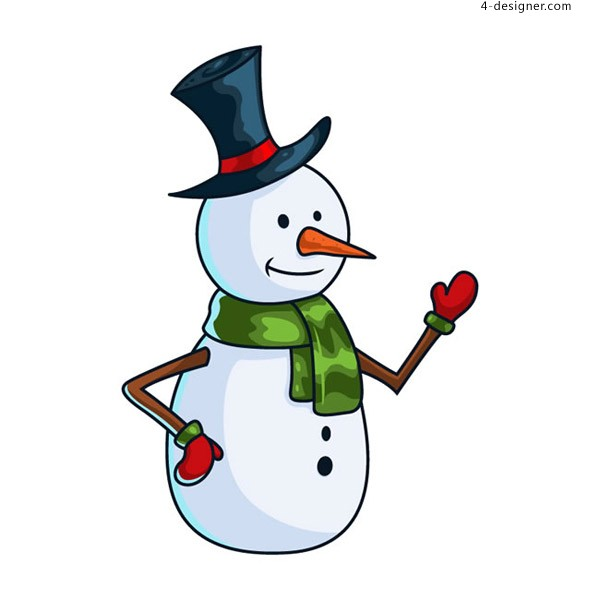 A snowman with a cartoon hat