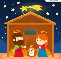 Cartoon Jesus birth illustration