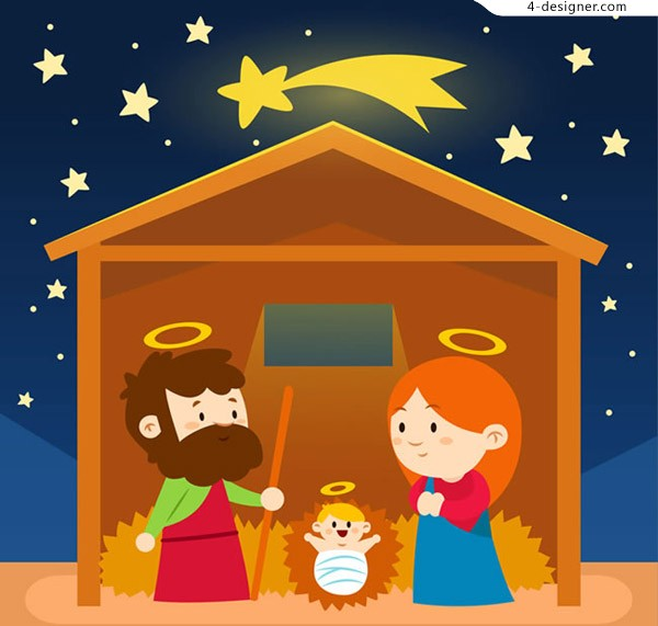4 Designer Cartoon Jesus Birth Illustration