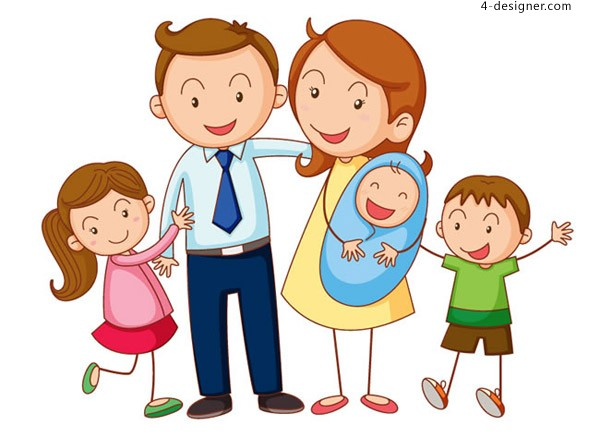 Cartoon family of five