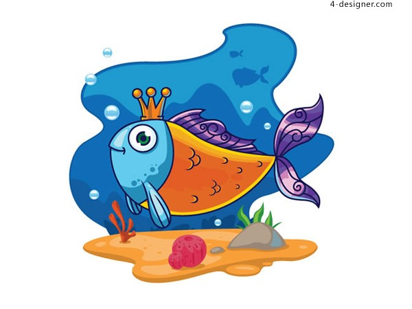 Cartoon fish with a crown