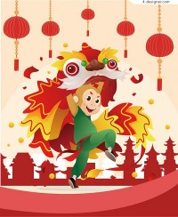 Cartoon monkey lion dance illustration