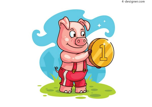 Cartoon pig with gold coin