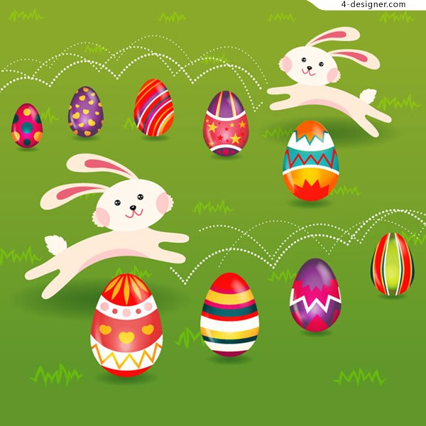 Cartoon rabbit and Easter egg