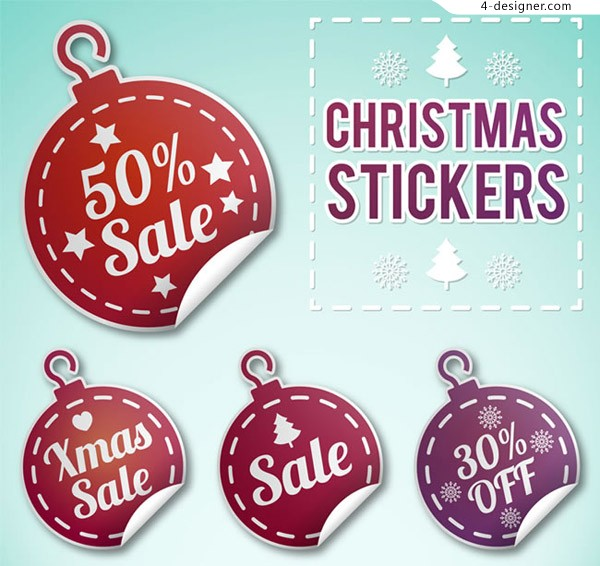 Christmas discount sticker vector