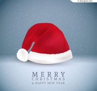 Christmas hat greeting card vector