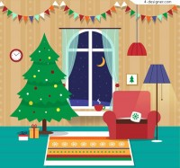 Christmas night living room illustration