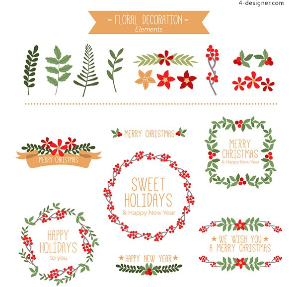 Christmas plants and garlands