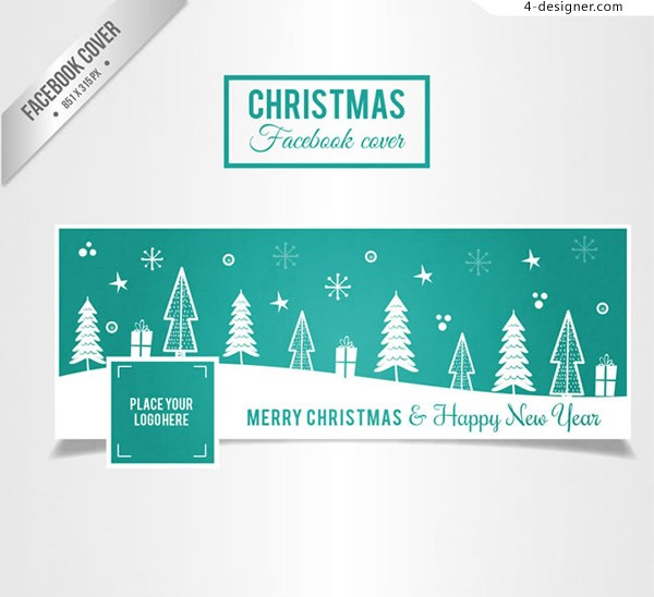 Christmas tree face book cover