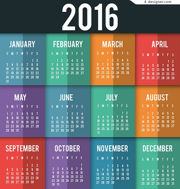 Color block 2016 calendar