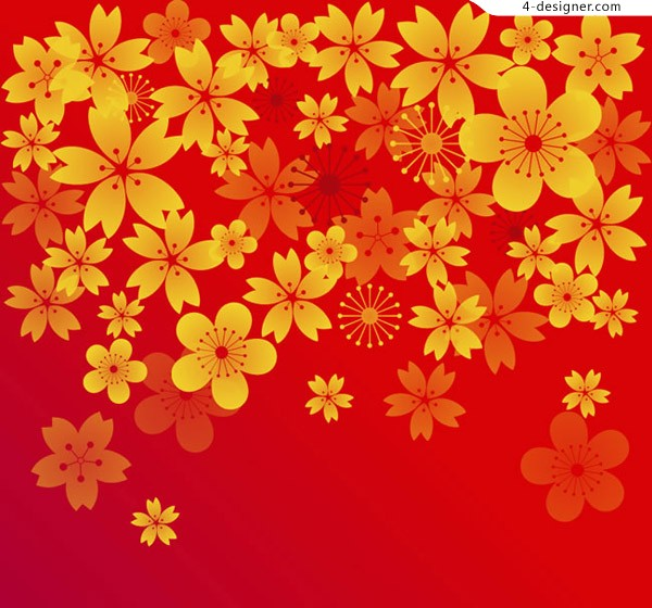 Colorful golden flower background