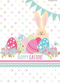 Easter eggs and rabbit greeting cards