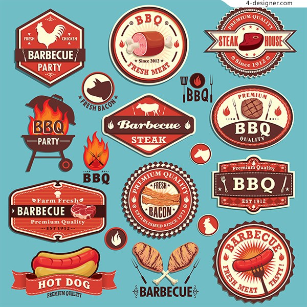 Fashion BBQ label vector