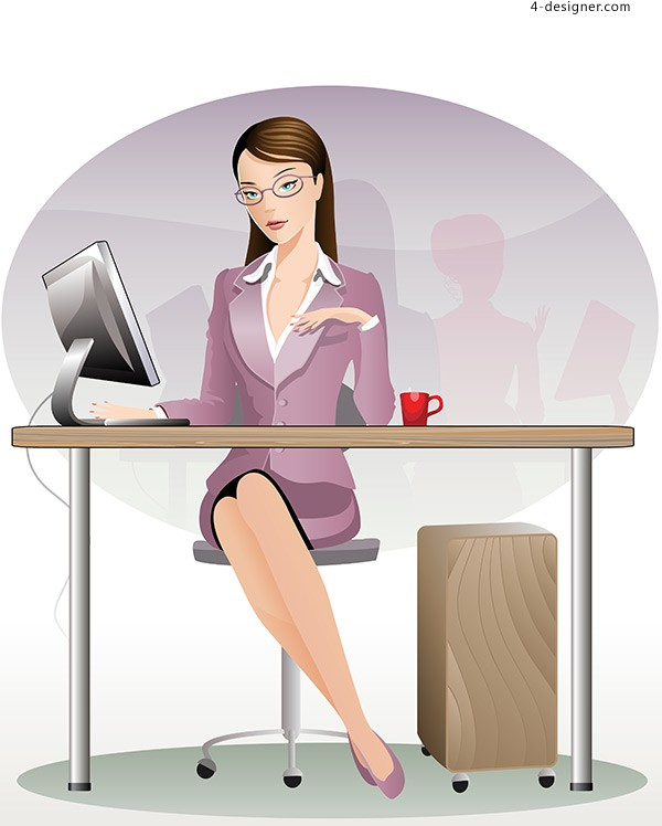 Female white collar vector