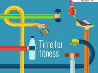 Fitness time illustration vector