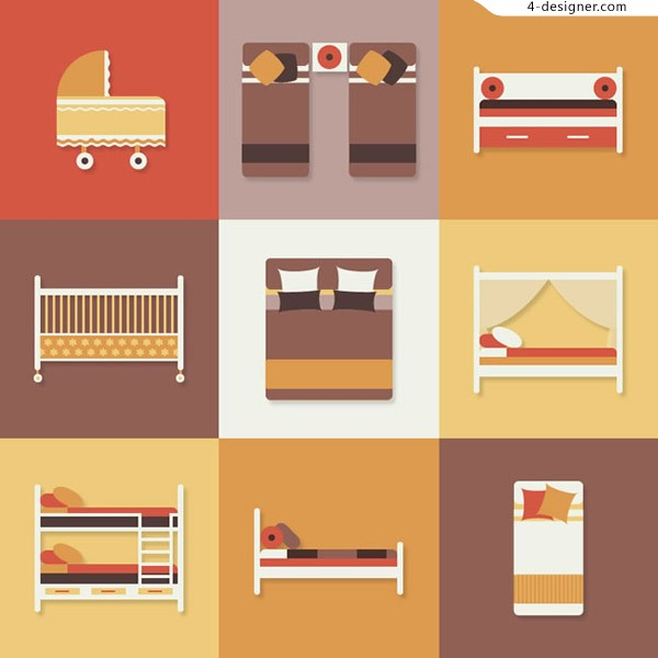 Flat bed icon vector