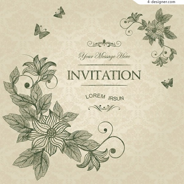Flower and butterfly invitations