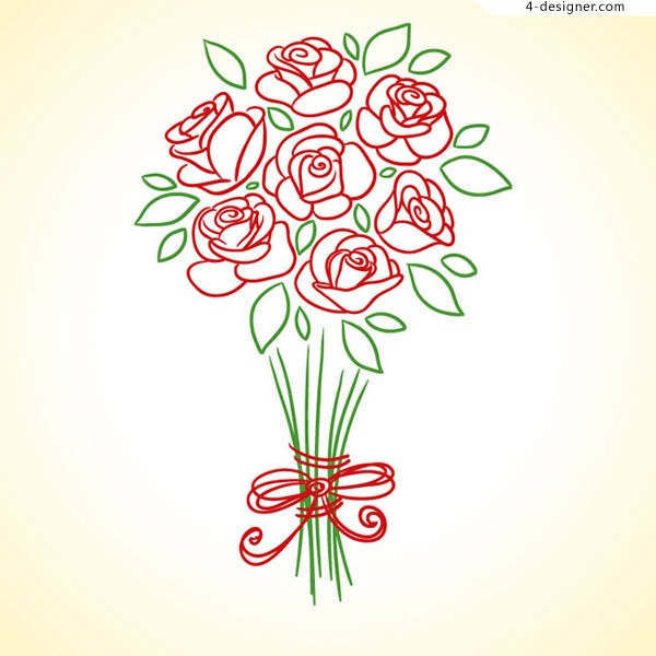 Hand drawn red rose bouquet
