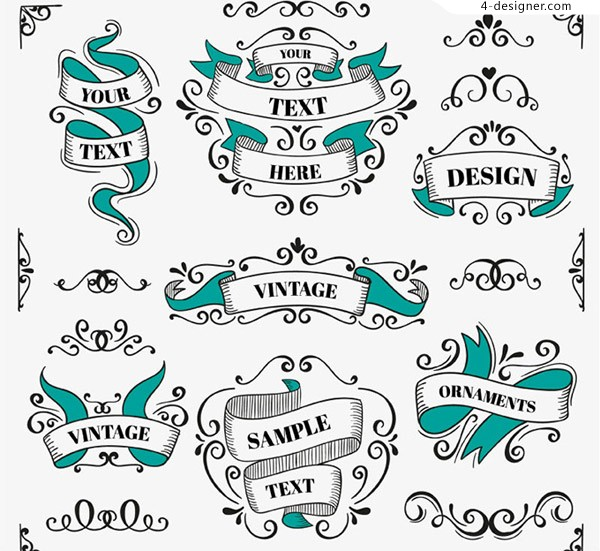 Hand painted retro ribbon