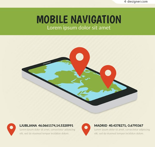 Mobile navigation illustration vector