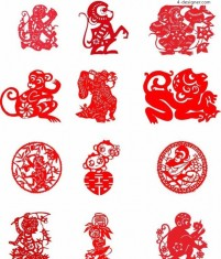 Monkey year paper cut pattern