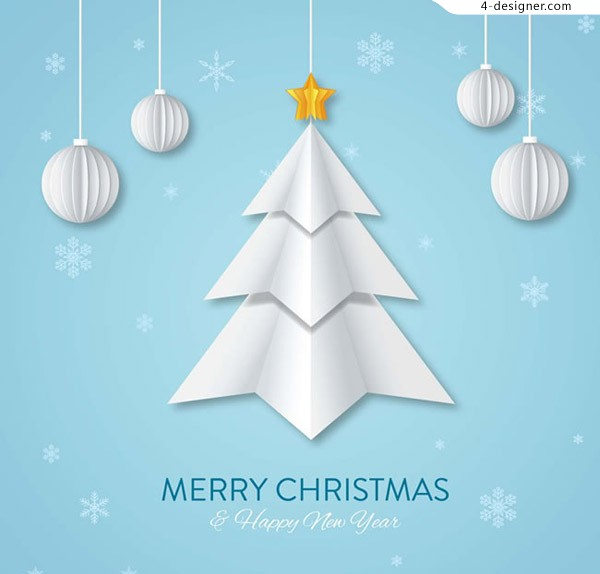 Origami Christmas tree greeting cards