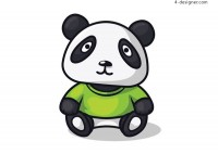 Panda in green short sleeve