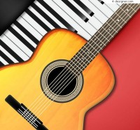 Piano keyboard and guitar