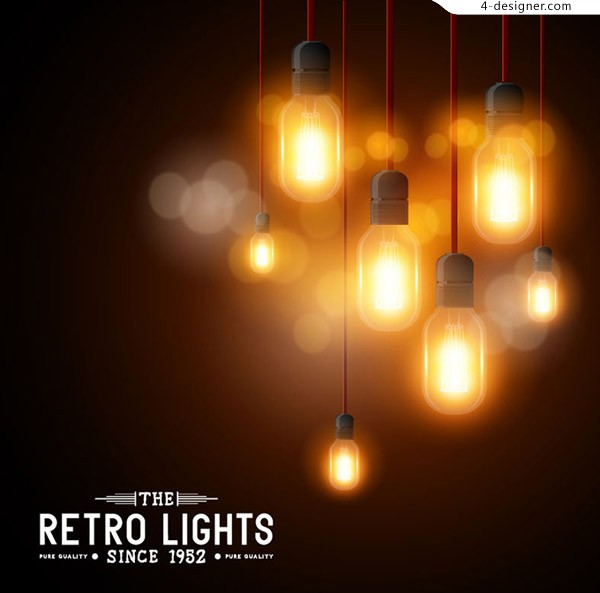 Retro warm light bulb background