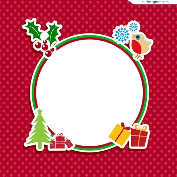 Round Christmas element frame
