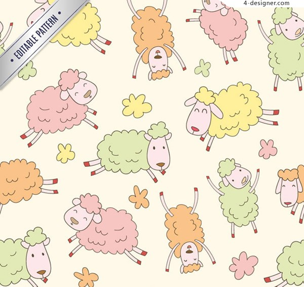 Seamless background of cartoon sheep