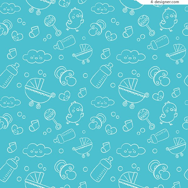 Seamless background of infant elements