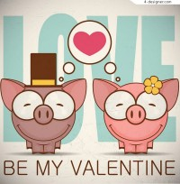 Smiling couple pig vector