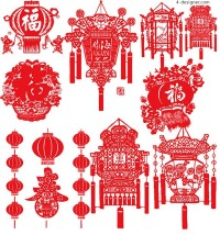 Spring Festival vector lantern paper cutting
