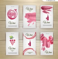Watercolor wine cards