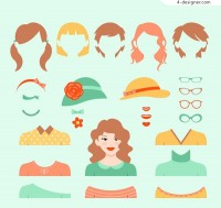 Woman dressed element vector
