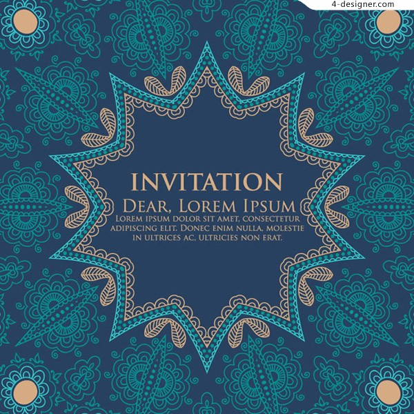 Blue pattern invitation card