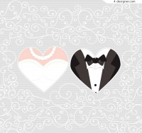 Bride and groom pattern background