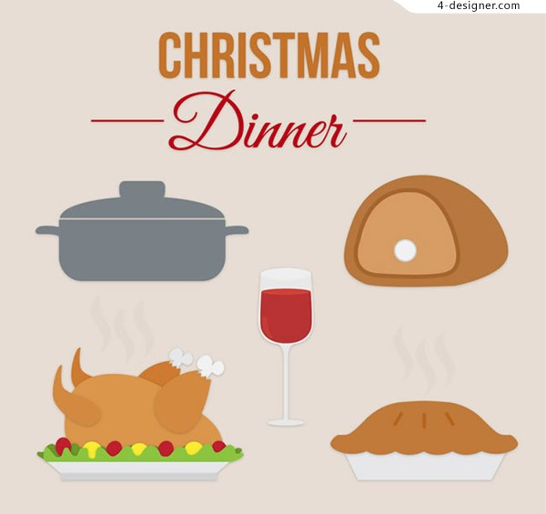 Cartoon christmas meal elements