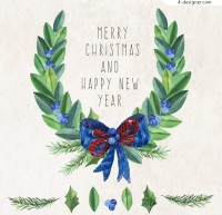 Christmas garlands greeting cards