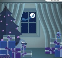 Christmas night bedroom illustration