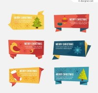 Christmas origami labels