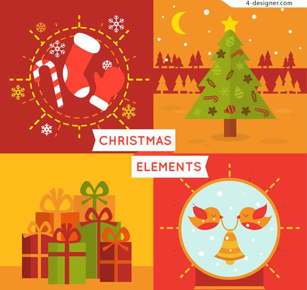 Color christmas card vector