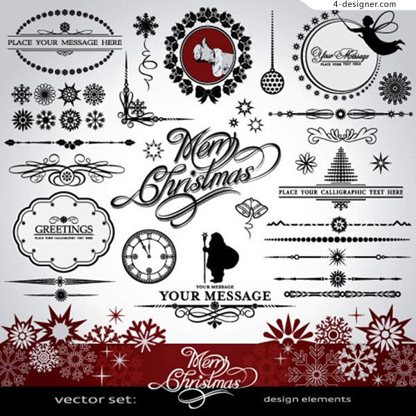 Decorative elements of Christmas patterns