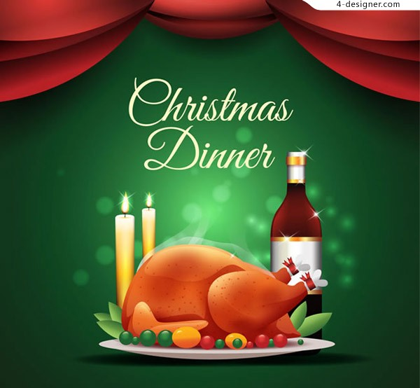 Delicious Christmas dinner vector