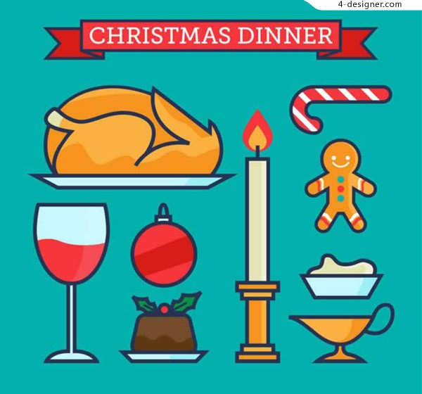 Element vector of Christmas dinner