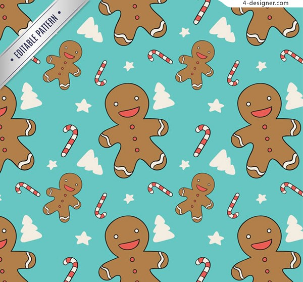 Gingerbread Man seamless background