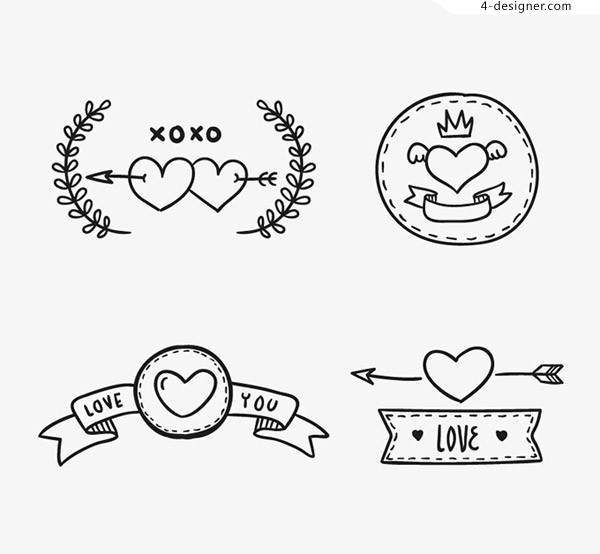 Hand painted love label vector