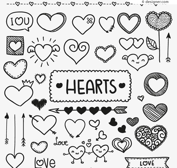 Hand painted love vector