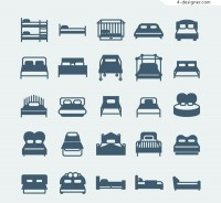 Home bed icon vector